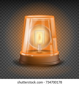 Orange Flasher Siren Vector. 3D Realistic Object. Light Effect. Rotation Beacon. Emergency Flashing Siren. Isolated On Transparent Background Illustration
