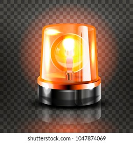 Orange Flasher Siren Vector. Realistic Object. Light Effect. Beacon For Police Cars Ambulance, Fire Trucks. Emergency Flashing Siren. Transparent Background vector Illustration