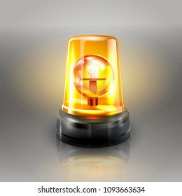 Orange Flasher Siren Vector. Realistic Object. Light Effect. Beacon For Police Cars Ambulance, Fire Trucks. Emergency Flashing Siren. Gray Background vector Illustration