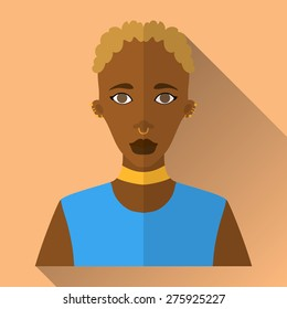 Orange flat style square shaped female character icon with shadow. Illustration of beautiful african woman with short white curly hair with septum and ear piercing wearing blue sleeveless shirt.