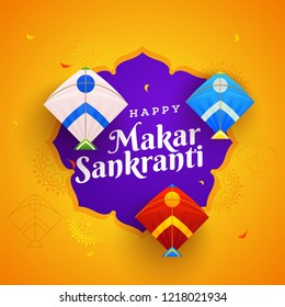 Orange floral background decorated with colorful kites for Happy Makar Sankranti festival celebration.