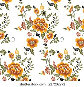 Orange flower pattern drawn by hand.