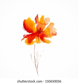 Orange flower. Watercolor floral illustration. Floral decorative element. Vector floral background.