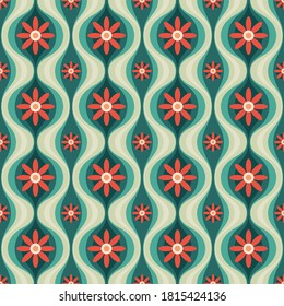 Orange flowers and green leaves. Mid-century modern art vector background. Abstract geometric seamless pattern. Decorative ornament in retro vintage design style.