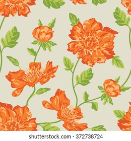 Orange flowers with green leaves. Seamless vector pattern repeat.