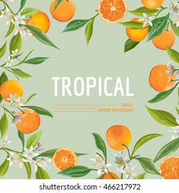 Orange, Flowers and Leaves. Exotic Graphic Tropical Banner. Vector Frame Background.