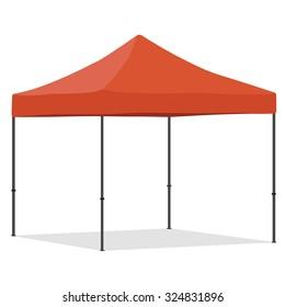 Orange folding tent vector illustration. Pop up gazebo. Canopy tent