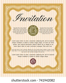 Orange Formal invitation template. Customizable, Easy to edit and change colors. With guilloche pattern and background. Money style design.