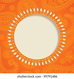 Orange  frame with  paisley pattern. Vector illustration.