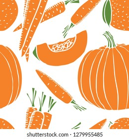 Orange fresh Pumpkin and carrot Seamless pattern set