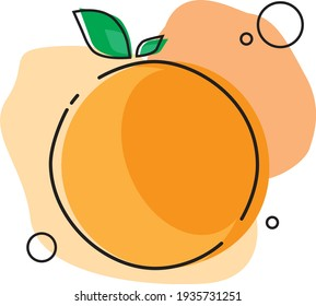Orange fruit, orange, citrus fruit, juicy orange, juicy citrus icon vector illustration