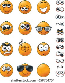 Orange Fruit Emoticon Set. An emoticon set of oranges with varying faces and expressions