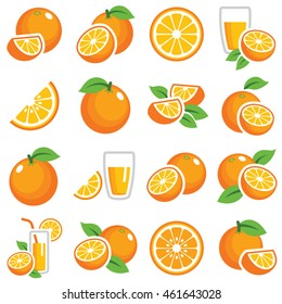 Orange fruit icon collection - color vector  - Shutterstock ID 461643028