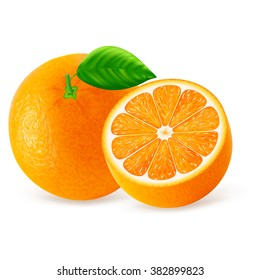 Orange fruit with leaves isolated on white background. Vector illustration for decorative poster, emblem natural product, farmers market. Perfect for packaging design of cosmetics and food.