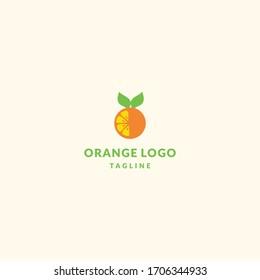 Orange fruit logo isolated food