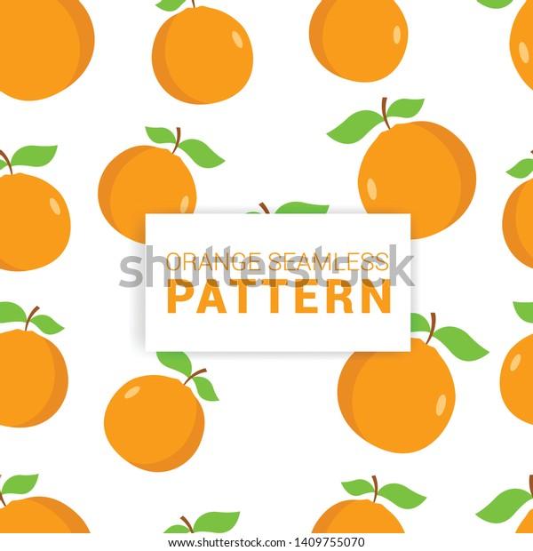 Orange Fruit Seamless Patterns Vector Illustration Stock