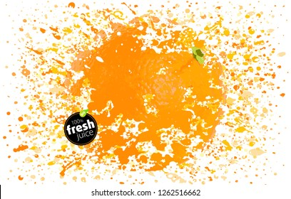 Orange fruit in a splash of juice. Spray of taste and freshness. Blast of fresh drink. EPS Vector Illustration