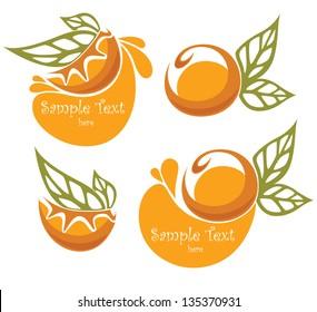 orange fruits and orange juice, vector collection