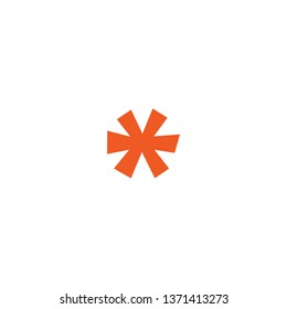 orange funny lopsided asterisk footnote  icon. Asterisk sign. Flat icon of asterisk isolated on white background. Vector illustration. Star note symbol for more information