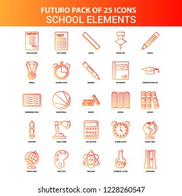 Orange Futuro 25 School Elements Icon Set