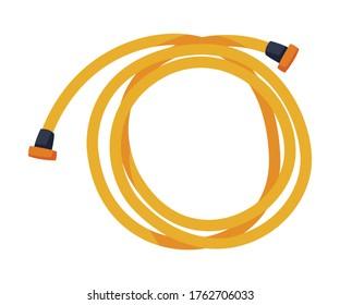 Orange Garden Hose, Agriculture Work Equipment, Garden Tool Flat Style Vector Illustration on White Background