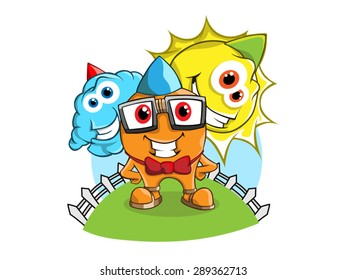 Orange Geek with sun and cloud mascot with bowtie and glasses and party hat on a green hill