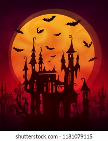 Orange giant moon with scary castle and bats silhouettes on dark red background. Vector halloween poster backdrop.