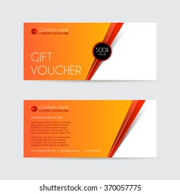 Orange Gift voucher template. Vector illustration. Unusual design of card usable for gift coupon, invitation, certificate, diploma, ticket etc.