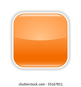Orange glossy blank web 2.0 button with gray shadow on white background