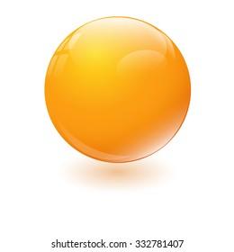 Orange glossy sphere isolated on white. Vector illustration.