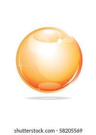orange glossy sphere on white
