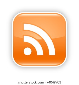 Orange glossy web 2.0 button with RSS sign. Rounded square sticker with gray shadow on white. 10 eps