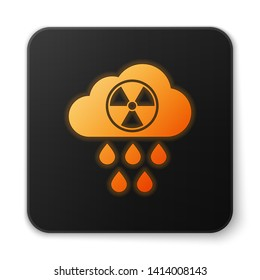 Orange glowing Acid rain and radioactive cloud icon isolated on white background. Effects of toxic air pollution on the environment. Black square button. Vector Illustration