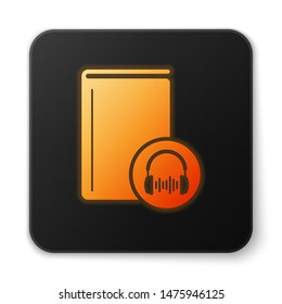 Orange glowing Audio book icon isolated on white background. Book with headphones. Audio guide sign. Online learning concept. Black square button. Vector Illustration