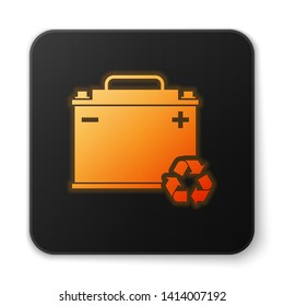 Orange glowing Car battery with recycle icon isolated on white background. Accumulator battery energy power and electricity accumulator battery. Black square button. Vector Illustration