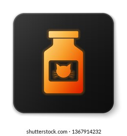 Orange glowing Cat medicine bottle icon isolated on white background. Container with pills. Prescription medicine for animal. Black square button. Vector Illustration