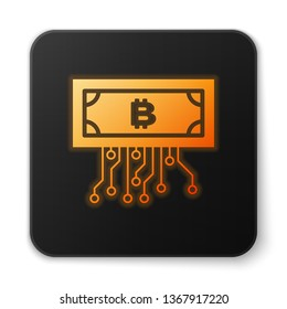 Orange glowing Cryptocurrency concept bitcoin in circle with microchip circuit icon isolated on white background. Blockchain technology, digital money market. Black square button. Vector Illustration