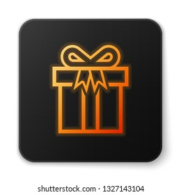 Orange glowing Gift box icon isolated on white background. Black square button. Vector Illustration