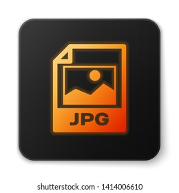 Orange glowing JPG file document icon. Download image button icon isolated on white background. JPG file symbol. Black square button. Vector Illustration