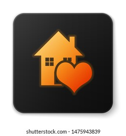 Orange glowing neon House with heart shape icon isolated on white background. Love home symbol. Family, real estate and realty. Black square button. Vector Illustration