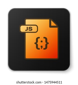Orange glowing neon JS file document. Download js button icon isolated on white background. JS file symbol. Black square button. Vector Illustration