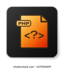 Orange glowing neon PHP file document. Download php button icon isolated on white background. PHP file symbol. Black square button. Vector Illustration