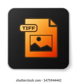 Orange glowing neon TIFF file document. Download tiff button icon isolated on white background. TIFF file symbol. Black square button. Vector Illustration