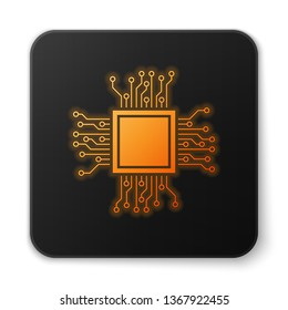 Orange glowing Processor icon isolated on white background. CPU, central processing unit, microchip, microcircuit, computer processor, chip. Black square button. Vector Illustration
