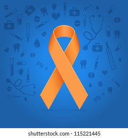 Orange glowing ribbon over medical blue background