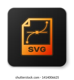 Orange glowing SVG file document icon. Download svg button icon isolated on white background. SVG file symbol. Black square button. Vector Illustration