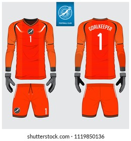 Orange Goalkeeper jersey or soccer kit, long sleeve jersey, goalkeeper glove template design. Sport t-shirt mock up. Front and back view football uniform. Flat football logo label. Vector Illustration
