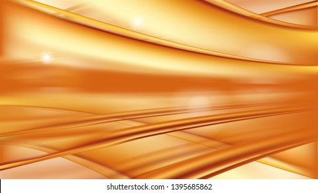 Orange golden flowing liquid vector abstract background, oil texture. Streams of oil, honey or fluid with light element. Template for cosmetic or sale banner or flyer.