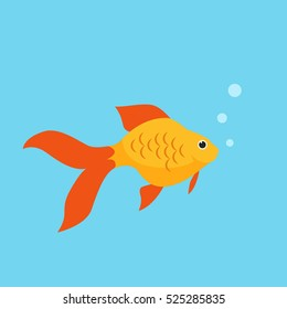 Orange Goldfish with bobbles of air vector