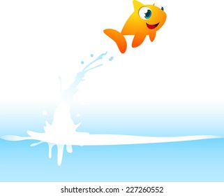 Orange Goldfish Fish Jumping Out of the Water, with water splash vector illustration.